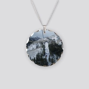 Mountain Gondola Ride Necklace Circle Charm