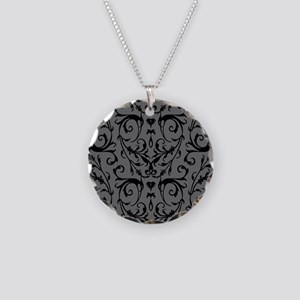 Grey And Black Damask Pattern Necklace