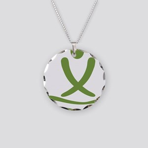 Green massage design Necklace Circle Charm