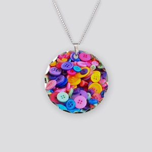 Buttons In Color Necklace Circle Charm