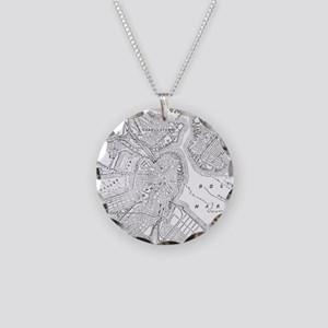 Vintage Map of Boston (1878) Necklace Circle Charm