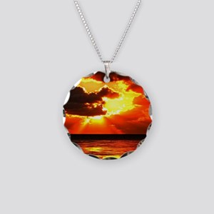 Sunset Necklace Circle Charm