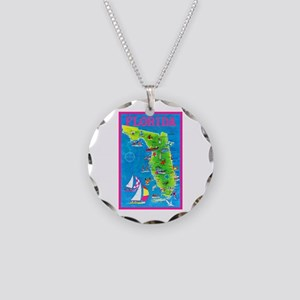 Florida Map Greetings Necklace Circle Charm