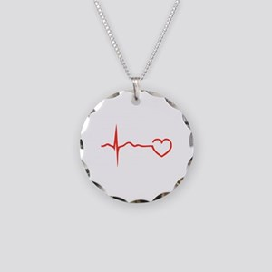 Heartbeat Necklace Circle Charm