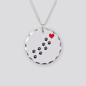 Paw Prints To My Heart Necklace Circle Charm