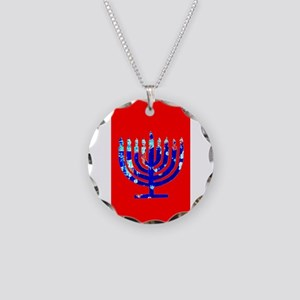 Red Vibrant Menorah Hanukkah Necklace Circle Charm