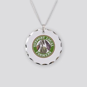 Support Local Farmers Necklace Circle Charm