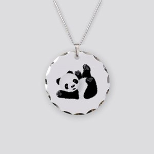 Baby Panda Necklace Circle Charm