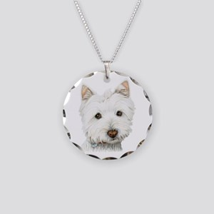 Westie Dog Necklace Circle Charm