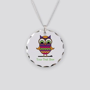 Customizable Whimsical Owl Necklace Circle Charm