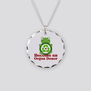 Organ donor recycle frog Necklace Circle Charm