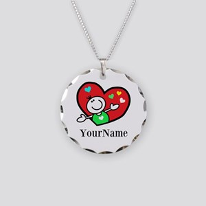 Happy Heart (p) Necklace Circle Charm
