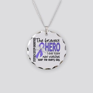 Bravest Hero I Knew Stomach Cancer Necklace Circle