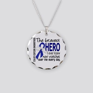 Bravest Hero I Knew Colon Cancer Necklace Circle C