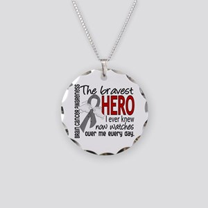 Bravest Hero I Knew Brain Cancer Necklace Circle C