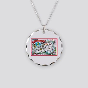 Kentucky Map Greetings Necklace Circle Charm