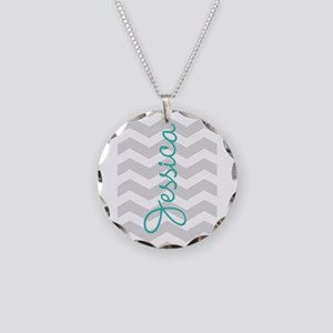 Custom name gray chevron Necklace Circle Charm