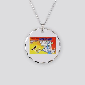 Maryland Map Greetings Necklace Circle Charm