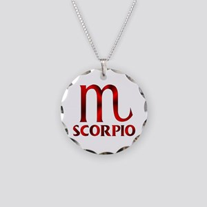 Red Scorpio Symbol Necklace Circle Charm