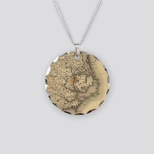 Vintage Map of The North Car Necklace Circle Charm