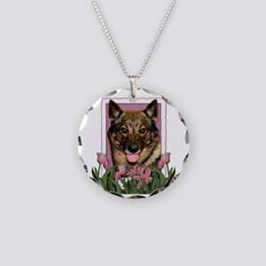 Mothers Day Pink Tulips Vallhund Necklace Circle C