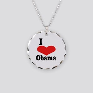 I Love Obama Necklace Circle Charm