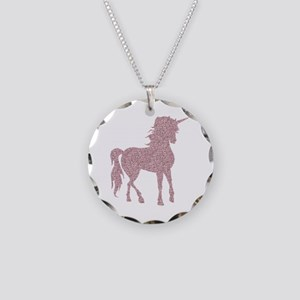 Pink Unicorn Necklace Circle Charm
