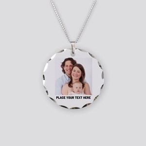 Photo Text Personalized Necklace Circle Charm
