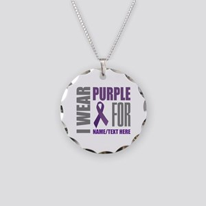 Purple Awareness Ribbon Cust Necklace Circle Charm