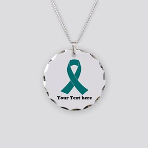 Teal Ribbon Awareness Necklace Circle Charm