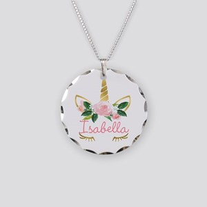 Sleeping Unicorn Personalize Necklace Circle Charm