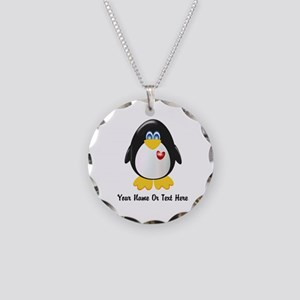 Customizable Penguin Necklace Circle Charm