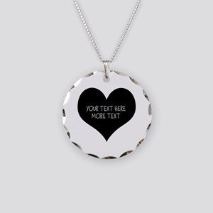 Black Heart For Valentines Necklace Circle Charm