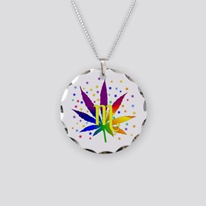 Rainbow Marijuana Scorpio Necklace Circle Charm