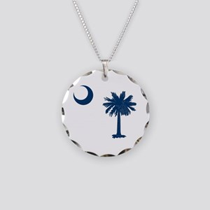 Palmetto & Cresent Moon Necklace Circle Charm