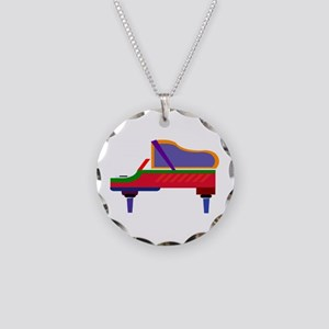 Funky Piano Necklace Circle Charm