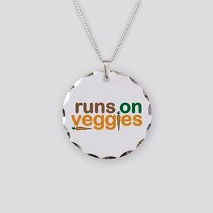 Runs on Veggies Necklace Circle Charm