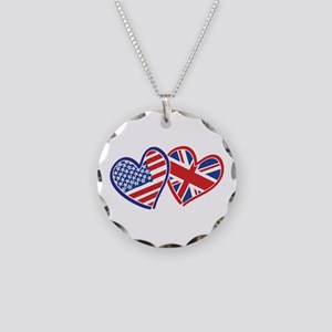 Patriotic Peace Sign and USA Flag Necklace Circle