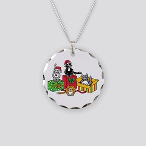 Christmas Cats Necklace Circle Charm