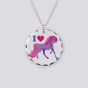 I Love Unicorns Necklace Circle Charm