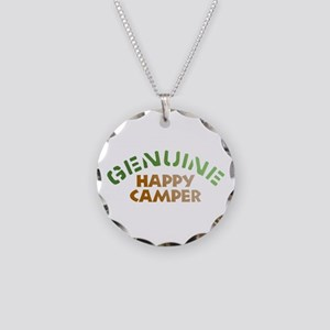 Genuine Happy Camper Necklace Circle Charm