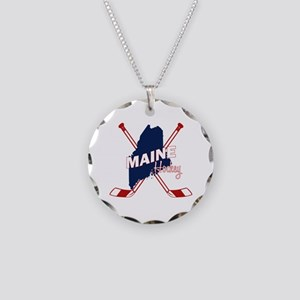 Maine Hockey Necklace Circle Charm