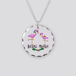 Dancing Pink Flamingos - Necklace Circle Charm