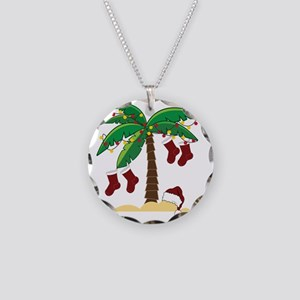 Tropical Christmas Necklace Circle Charm