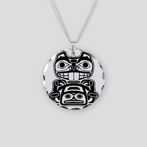 Native American Beaver Necklace Circle Charm