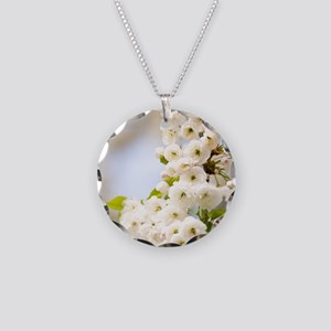 Cherry blossom (Prunus sp.) Necklace Circle Charm