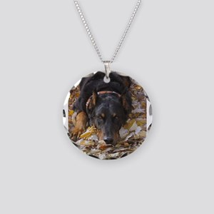 Beauceron Leaves Necklace Circle Charm