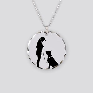German Shepherd Silhouette Necklace Circle Charm