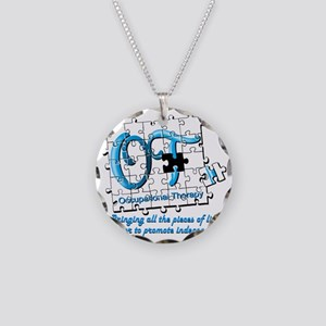 ot puzzle aqua Necklace Circle Charm