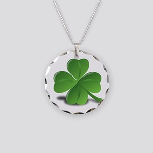 Shamrock Necklace Circle Charm